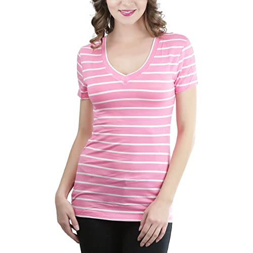 c514240297 ToBeInStyle Women s Striped Short Sleeve V-Neck Tee