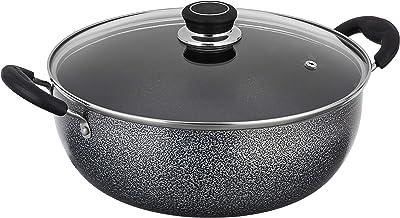 Amazon Brand - Solimo Non Stick Kadhai with Glass Lid (26 cm, Hammertone finish, 3 coat, 2.9mm thickness), Aluminium, Black