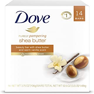 DOVE BAR Dove نوار زیبایی را کاملاً نوازش می دهد تا مرطوب کننده پوست خشکی کره روغن مرطوب کننده تر از صابون تخته ای 3.75 اونس 14 شمارش ، 3.75 اونس