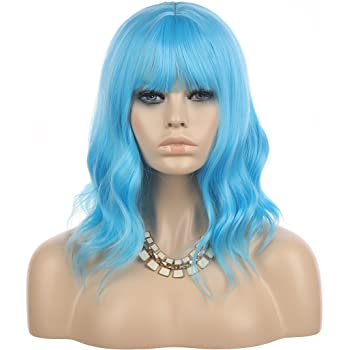 """eNilecor Blue Wig Short Curly Bob Wigs with Air Bangs 14"""" Natural Colored Wigs for Women"""