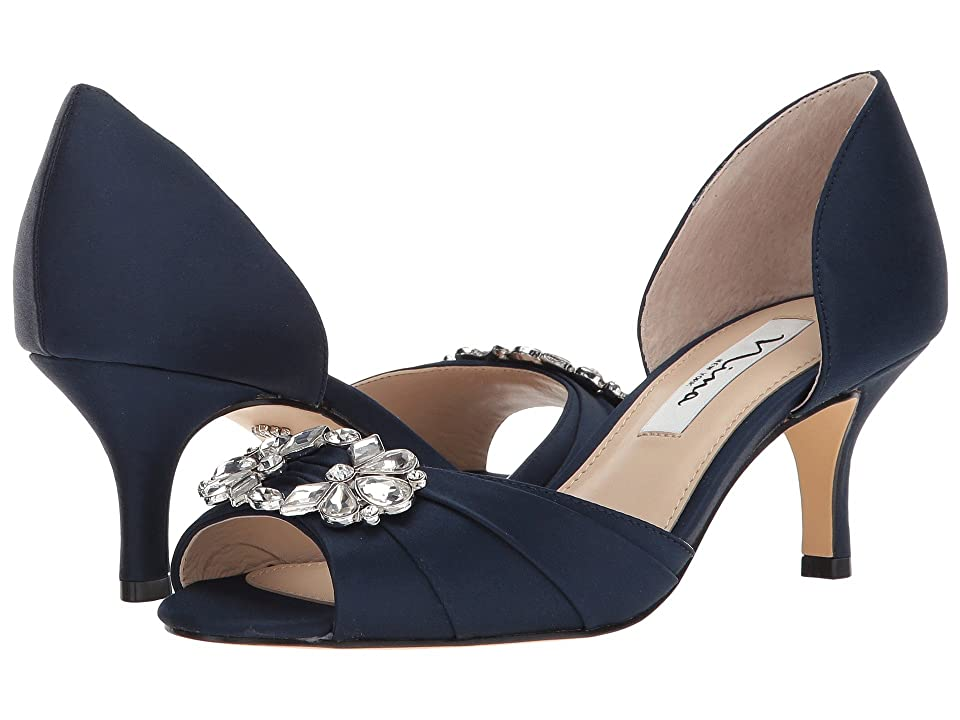Nina Charisa (New Navy Luster Satin) High Heels