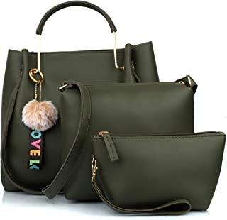Mammon Women's Handbag (Set of 3) (3LR-BIB-Green_Green)