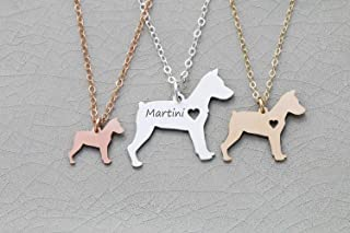 Miniature Pinscher Dog Necklace - IBD - Personalize Name Date - Pendant Size Options - 935 Sterling Silver 14K Rose Gold Filled Charm