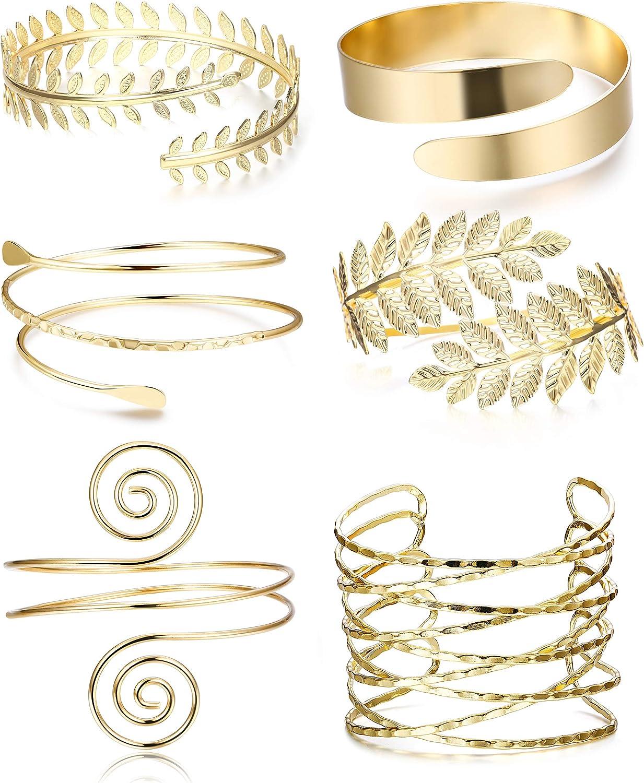 FINREZIO 6 PCS Upper Arm Cuff Bracelet for Women Bangle Bracelet Open Armlet Leaf Armband Jewelry Set Adjustable