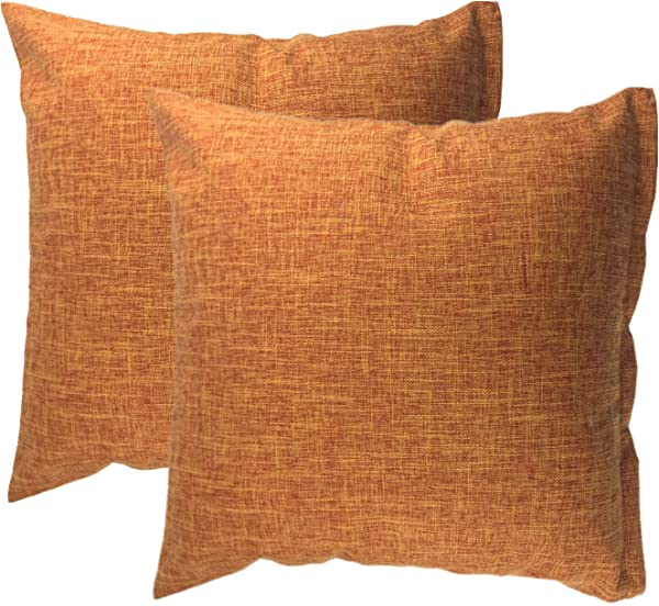 HYXING Pillow Cover 18 X18 Burlap Linen Throw Home Decorative Solid Square Pillowcase Outdoor Pillow Covers Handmade With Invisible Zipper For Sofa Couch Bed Car Camping Plain Orange