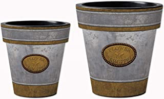 Studio M Flower Shoppe Art Planters Faux Galvanized Decorative Pots, Fade-Resistant Container for Outdoors or Indoors - Set of 2, Printed in The USA, 12 and 15 Inch Diameter