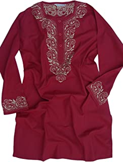 Ayurvastram Pure Cotton Round Neck, Hand Embroidered Tunic, Top, Kurti, Blouse