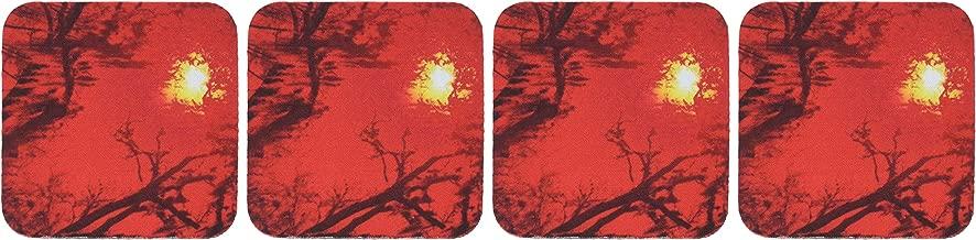3dRose LLC Sun Drips Red Coaster, Soft, Set of 4