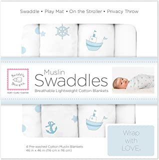 SwaddleDesigns Cotton Muslin Swaddle Blankets, Set of 4, Pastel Blue Nautical Ships Ahoy!