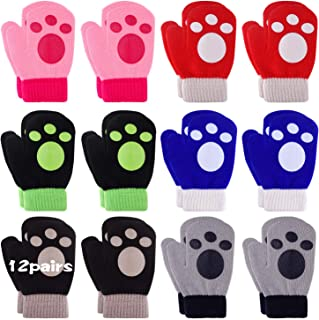 12 Pairs Toddler Magic Stretch Soft Knitted Mittens Baby Boys Girls Winter Gloves
