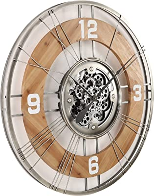 CT Decor Round Sorrento Country Moving Cogs Wall Clock, Natural/Metal Edge, 90 cm Diameter