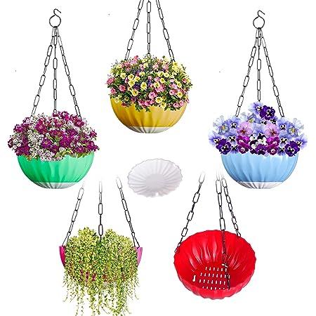 DOAP Plastic Big Hanging Flower pots -Self Watering Planter, Multicolor, 8.5 inch, 5 Piece