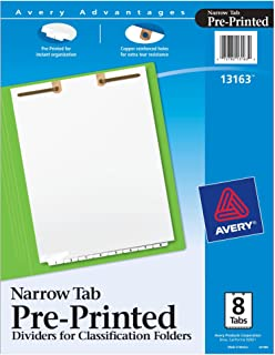 Avery Preprinted Dividers for 2-Prong Classification Folders, Narrow Bottom Tabs, Numbered 1-8, 8-Tab Set (13163)