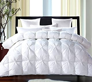 ROSECOSE Luxurious Goose Down Comforter Queen Size Duvet Insert Pinch Pleat 1200 Thread Count 750+ Fill Power 100% Cotton Shell Hypo-allergenic Down Proof with Tabs (Queen,White,Pinch Pleat)