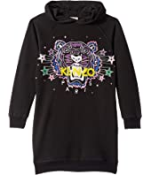 Kenzo Kids - Hooded Jumper Dress with Purple Tiger and Stars (Big Kids)