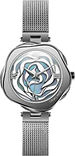 Watch Denmark Rose Women's Quartz Wristwatch Sapphire Crystal Stainless Steel Case Skeleton Dial