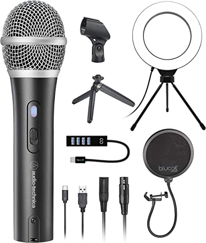 """popular Audio-Technica ATR2100X-USB Cardioid Dynamic Microphone (ATR Series) for Windows and Mac Bundle with Blucoil Pop Filter sale Windscreen, 6"""" Dimmable Selfie Ring Light, lowest and USB-A Mini Hub sale"""