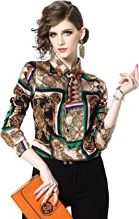 Women's Holiday Baroque Print Shirt Long Sleeve Button up Casual Blouse