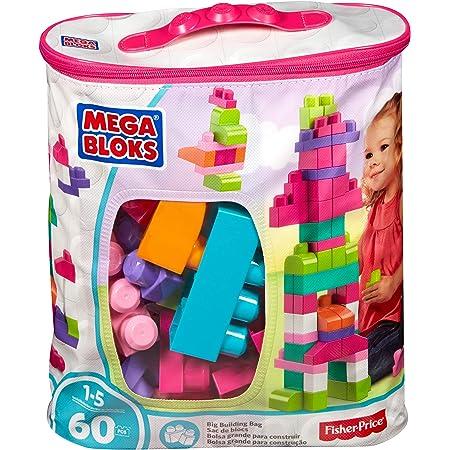 Mega Bloks Sac Rose, jeu de blocs de construction, 60 pièces, jouet pour bébé et enfant de 1 à 5 ans, DCH54