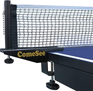 ComeSee Professional Table Tennis Ping Pong Net Post Set Strength Screw Clamp with Net Clip Insert, 1.5 Inch Width Grip Holder, Tension and Height Adjustable Easy Set Up (Black)