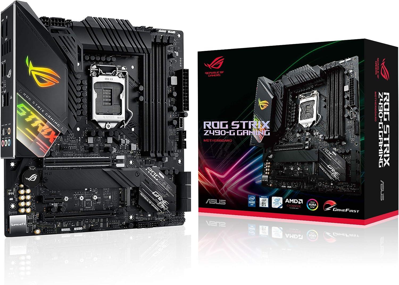 ASUS ROG Strix Z490-G Gaming - Placa Base Gaming mATX Intel de 10a Gen LGA 1200 con VRM de 14 Fases, AI Overclocking & Cooling, LAN 2.5 GB Ethernet, USB 3.2 Gen 2, SATA e iluminación RGB Aura Sync