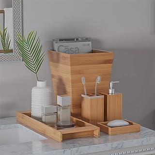 Lavish Home Bamboo Bath Accessories-5-Piece Set Natural...