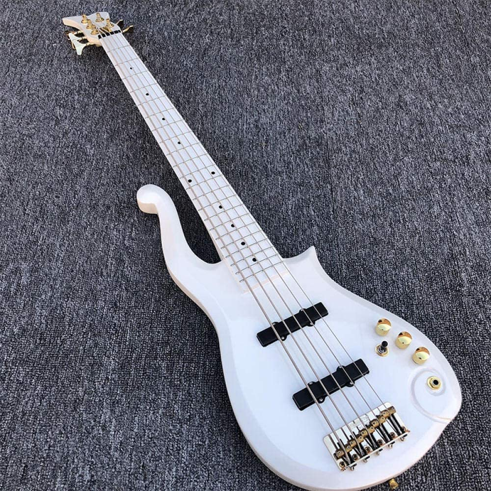 Spring new work GZSZYA Electric Bass Guitar Tampa Mall Acoustic String 5 White