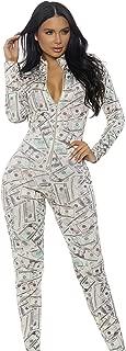 Women's Money Print Zipfront Catsuit