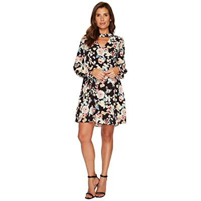 B Collection by Bobeau Mykla Long Sleeve Dress (Black Print) Women