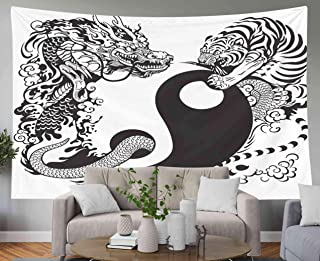 GROOTEY Hanging Wall Tapestry, Tapestry 80x60Inches Yin Yang Symbol Tiger Dragon Fighting Black White Tattoo Tapestries Wall Art for Home Bedroom Dorm Decoration