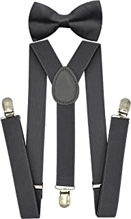 Trilece Kids Boys Suspenders - Adjustable Elastic Y Back and Strong Clips - One Size Fits 6 Months to 5 Feet Tall