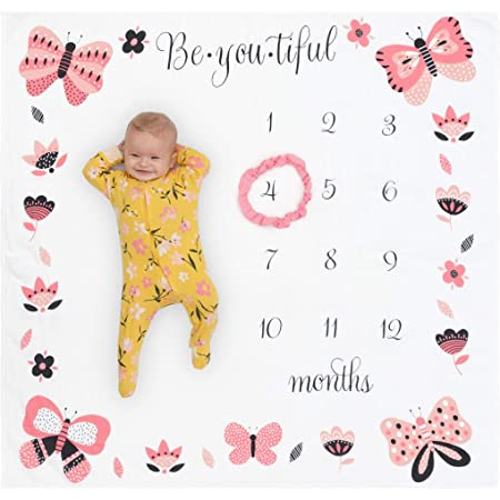 Camidy Baby Swaddle Wrap,Newborn Milestone Receiving Blanket Unisex Monthly Growth Shoots Backdrop