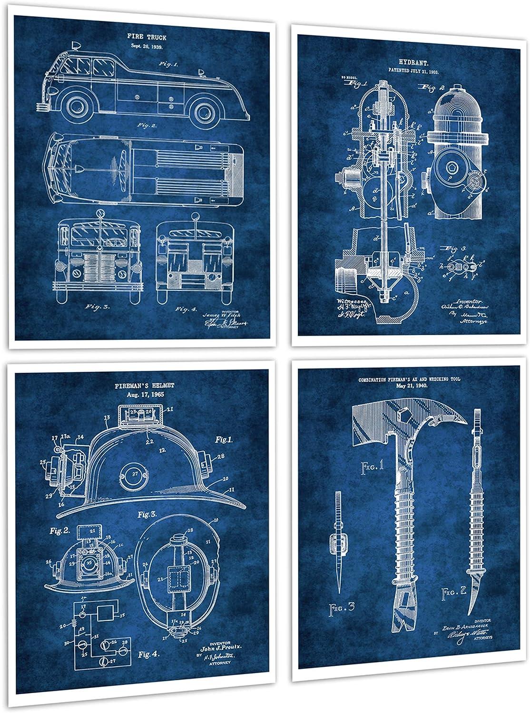 Firefighter Decor Set of 4 Unframed Blue Patent Art Firefighter Gift Patents_firefighting_Blue4B