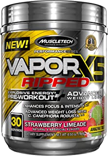 Pre Workout + Weight Loss Formula | MuscleTech Vapor X5 Ripped Pre-Workout | Preworkout Powder for Men & Women with Beta A...