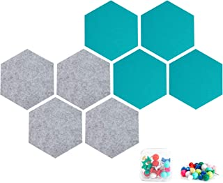 8 Packs Hexagon Felt Board Tiles Cork Boards Bulletin Boards with 20 Pieces Push Pins 6.9 x7.9 inches - Gray & Turquoise