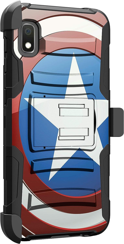 MINITURTLE Compatible with Samsung Galaxy A10e, Samsung Galaxy A20e Hard Shell Cover Hybrid Case Kickstand with Holster Clip [Clip Armor] - America Shield