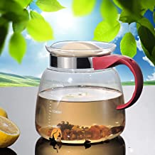 mini hervir t/é y cafetera tetera de cristal resistente con filtro de revestimiento de vidrio para hogar y oficina GYBL458 Olla de t/é de cristal con mango de madera 400 ml