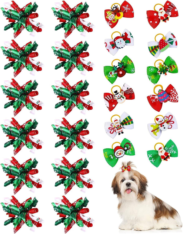 24 Lazos de Pelo de Perro de Navidad con Bandas de Goma Lazos de Curva de Mascotas de Copo de Nieve Lazos de Moño de Perro de Muñeco de Nieve Lazo de Aseo de Mascotas para Gato Perro