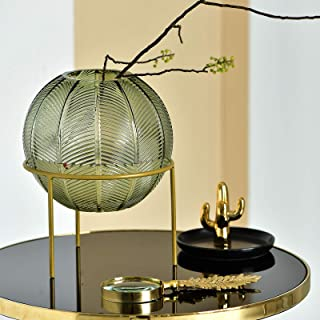 Cyl Home Terrariums Globe Glass Hydroponic Planter Holder Water Plant Containers with Brass Stand Flower Arrangement Vase Table Centerpieces for Dining Living Room Wedding Gift, 7.9'' H x 6.1'' D