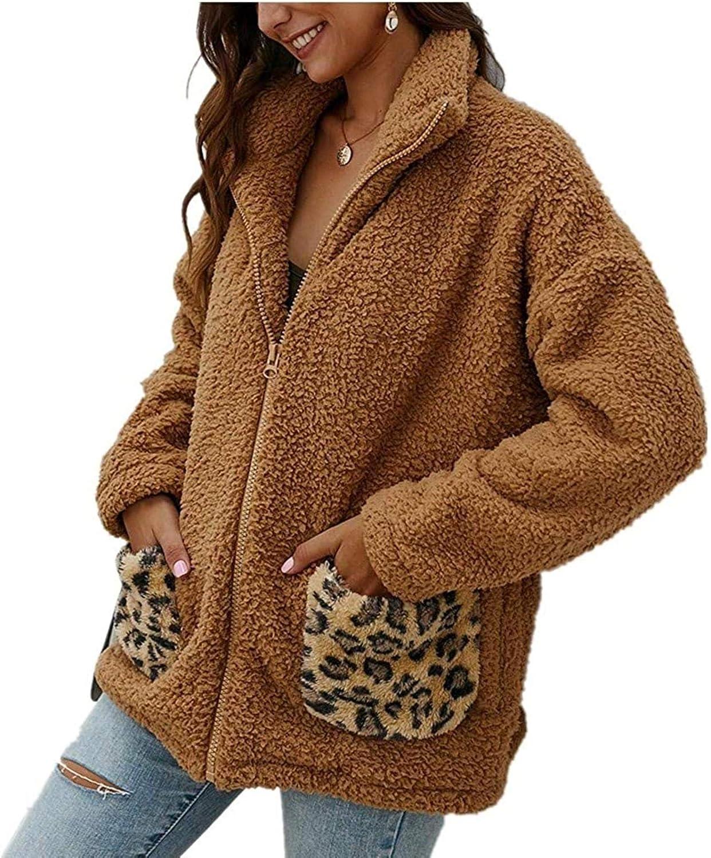 Women Leopard Print Casual Long Sleeve Fuzzy Sherpa Cardigan Faux Fur Winter Warm Coat Zipper Jacket