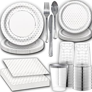 Shiny Silver Disposable Dinnerware for 24. Dinner and Dessert Paper Plates and Napkins with Reflective Silver Design, Clear Tumbler Cups with Silver Rim, and Silver Cutlery. Fancy Party Supplies