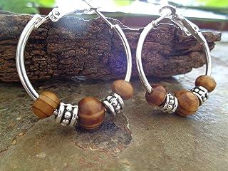 ❁ CAPPE IN LEGNO DI RADICE 3 CM LEGNO NATURALE ❁ orecchini rotondi sabbia e argento