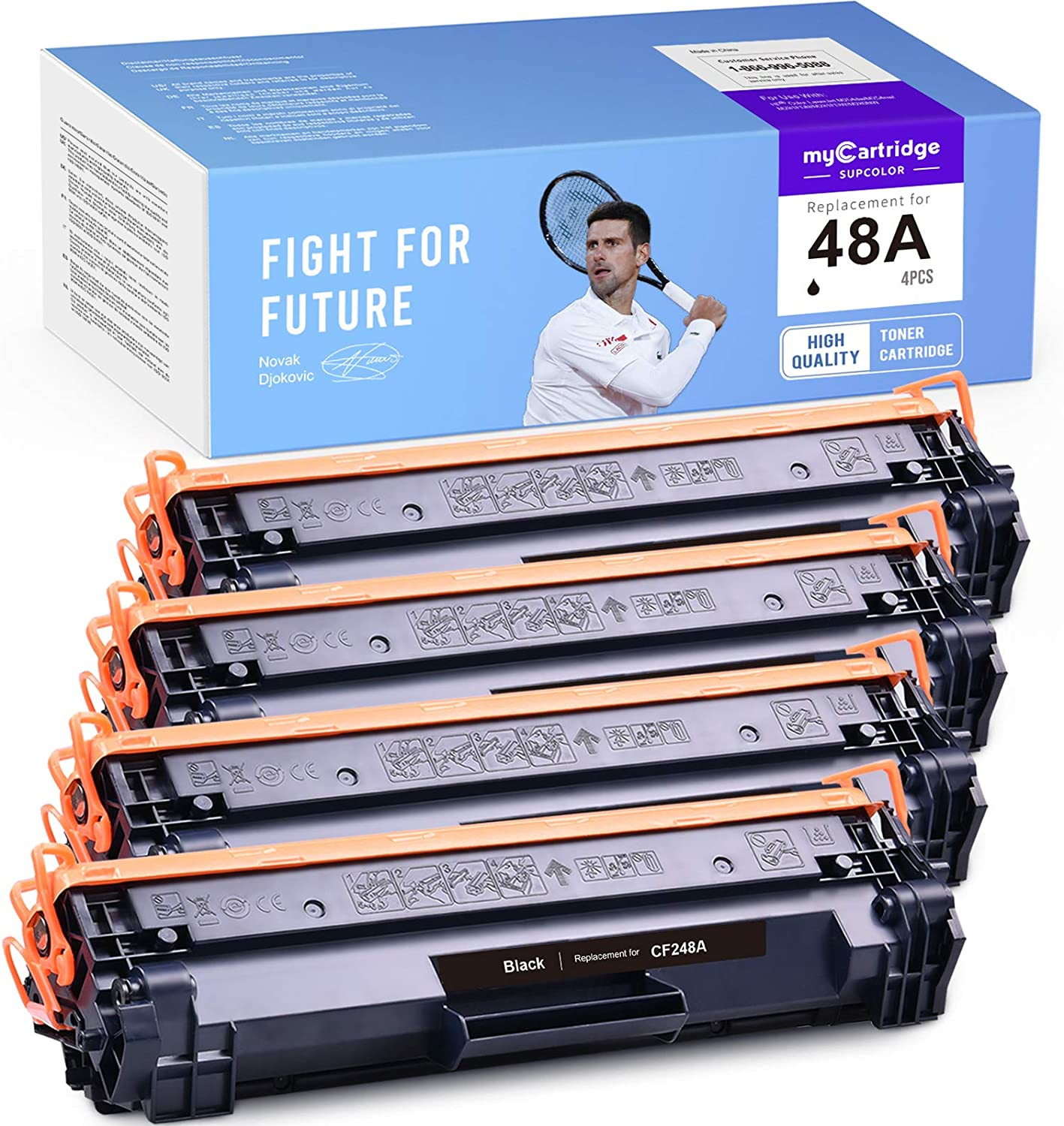 myCartridge SUPCOLOR Compatible Toner Cartridge Replacement for HP 48A CF248A use with HP Laserjet Pro M15w M15a M15 M16 M16w M16a MFP M29w M31w M29 M28w M28 M28a M29a M30w (Black, 4-Pack)