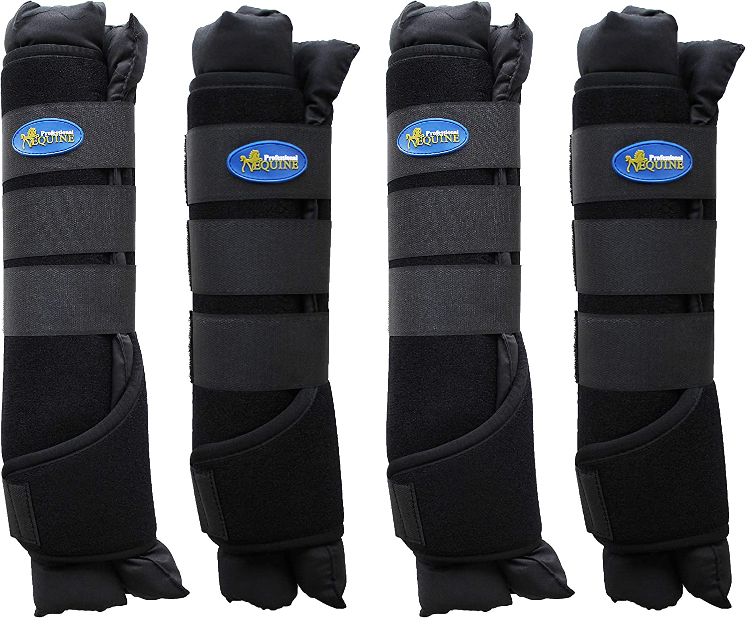 Professional Equine Horse 4Pack Stable Shipping Boot Wraps Leg Care Black 4120BK
