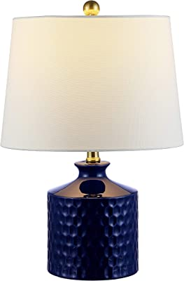 Safavieh Lighting Collection Landon Navy Blue Ceramic 21-inch Bedroom Living Room Home Office Desk Nightstand Table Lamp (LED Bulb Included)