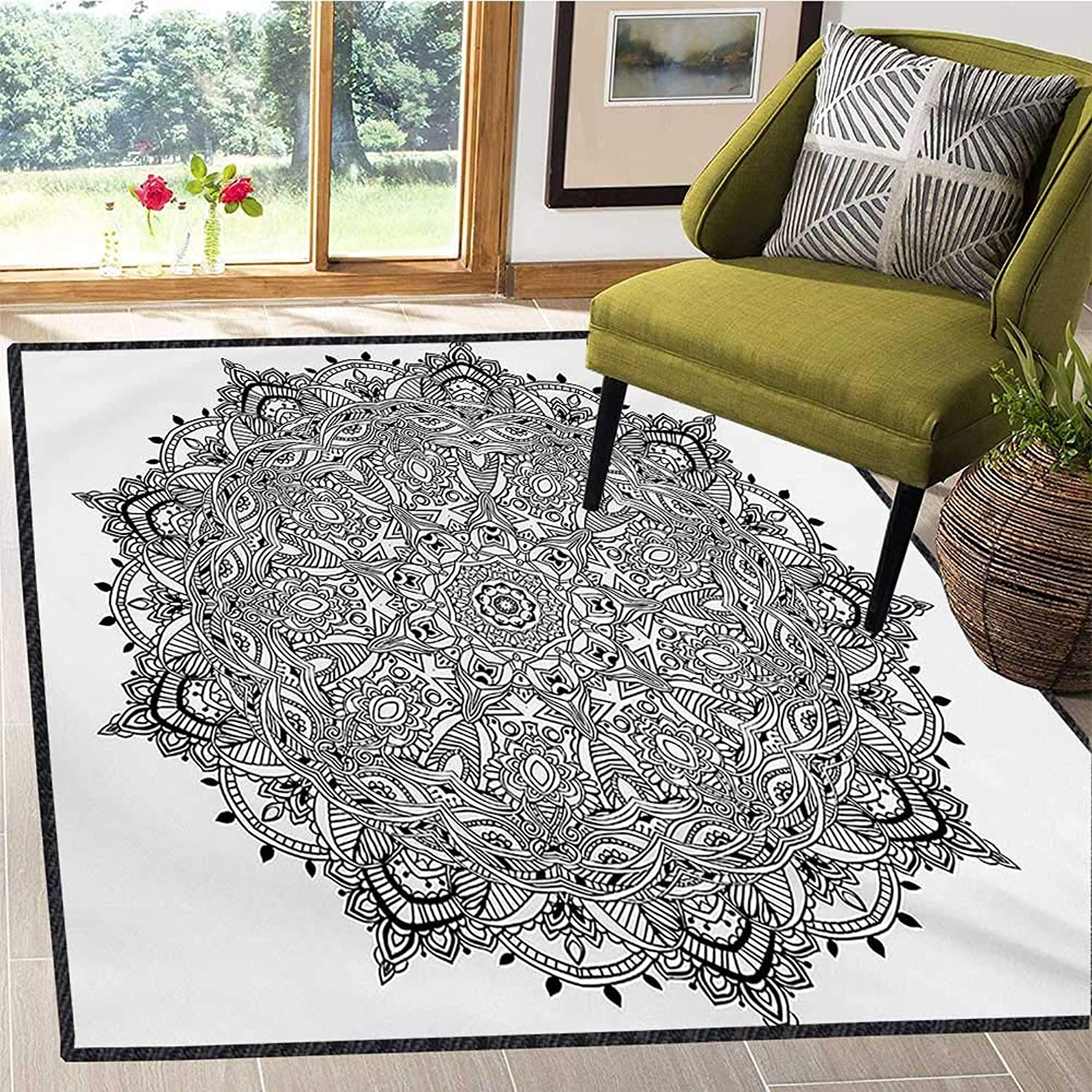 Mandala, Floor Mat for Kids, Lace Like Macro Round Tribal Motif with Mix Paisley Leaf Elements Kitsch Image, Door Mats for Inside Non Slip Backing 5x6 Ft Black White