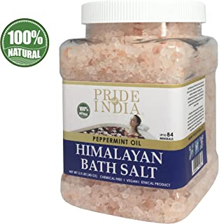 Pride Of India - Himalayan Pink Bathing Salt - Enriched w/Peppermint Oil and 84+ Natural Minerals, 2.5 Pound (40oz) Jar - Bath Salts, Bath Salts for Women and for Men, BUY 1 GET 50% OFF 2ND UNIT
