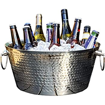BREKX Double-Walled Insulated Hammered Stainless Steel Beverage Tub & Large Ice Bucket for Parties, Weddings - Double Hinged Handles - 3 GALLONS Armored Steel