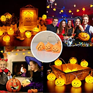 Lomanda Home Halloween Pumpkin String Lights,6.5 ft with 20 LEDs/9.8ft with 30LEDs,Solar Powered Jack-O-Lantern Decorative Lights for Patio,Parties