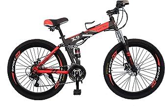 vlra X7 Land Rover Folding bike 26 inch 24speed mountain bike Suspended disc brake bicycle (black red)